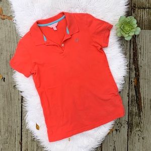 Lilly Pulitzer Orange Fitted Palm Tree Polo Shirt